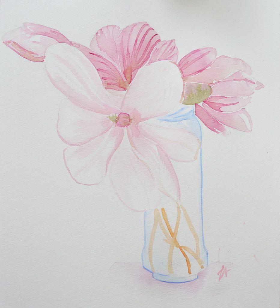 comment-dessiner-magnolia-fleur-encre-naturelle-jus-betterave-aquarelle