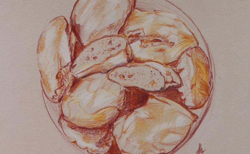 Comment dessiner du pain ? Comparaison entre papier kraft et papier blanc pour le crayon de couleur.