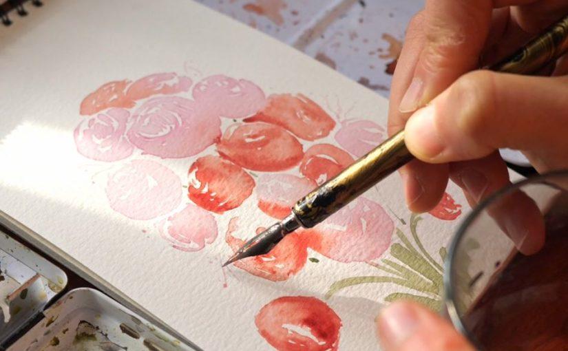 peinture-pivoine-plume-encre-naturelle-betterave