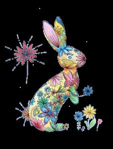 1. lapin - couleurs primaires - modèle - carnet A4 - coloré - carnet-de-coloriage