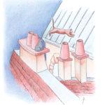 7. Chats sur les toits - couleurs désaturées - modèle - carnet A4 - coloré - avec fond - carnet-de-coloriage